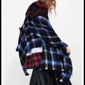 Zara Blue Check Plaid Oversized Blanket Scarf